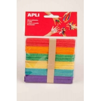 50 batonnets Apli 6 couleurs assorties
