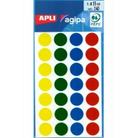140 gommettes Apli ø15mm Couleurs assorties