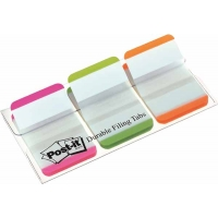 Etui de 3 couleurs vives d'Index Post-It rigide Rose-Vert-Orange – zone blanche – Bords colorés