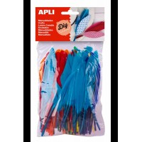 100 plumes Apli 6 couleurs assorties