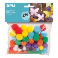 78 pompons Apli Couleurs Assorties