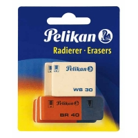 Blister de 2 gommes Pelikan BR40 + 2 gommes blanches WS30