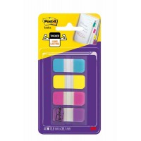 POST-IT Index Rigide – Dévidoir Portable - Turquoise, Jaune, Rose, Mauve - 15,8 x 38,1 mm