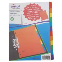 Lot de 2 Intercalaires cartons BRONYL 12 positions + 1 jeu d'intercalaires 6 positions gratuit