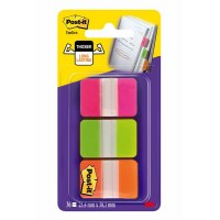 POST-IT Index Rigide Rose-Vert-Orange